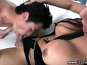 Sexy horny shemale gets sucked off