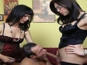 Hardcore shemale threesome, TS BDSM video